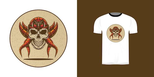 Retro cyborg schedelillustratie voor t-shirtontwerp