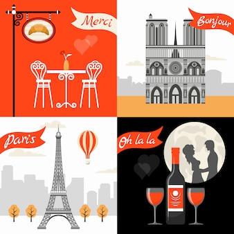 Retro de stijlconcept van frankrijk parijs