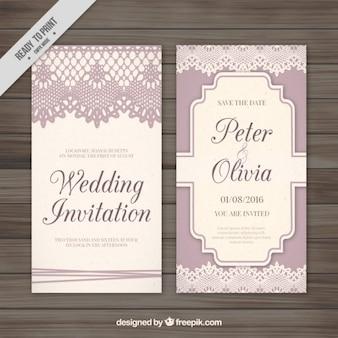 Retro decoratieve kaart met kant bruiloft
