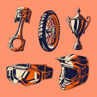 Retro design motorcross elementen