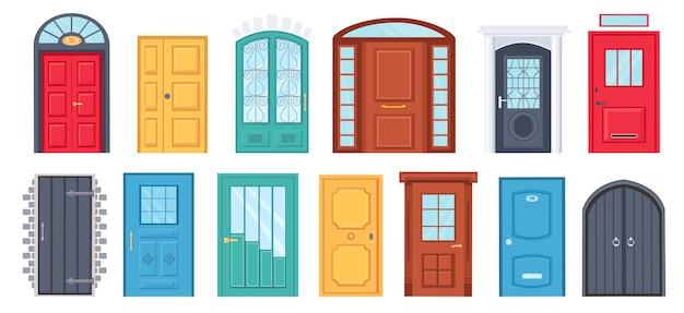 Retro deuren. cartoon voordeuropening buitenkant met bakstenen muur. huis of kantoor entree met glas. houten deurontwerp met handvat vectorreeks. illustratie deuropening woningbouw, architectuur enter