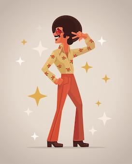 Retro disco danseres karakter.