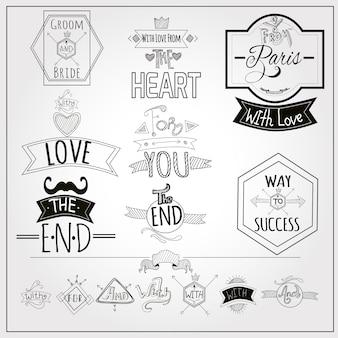 Retro doodle trefwoorden emblemen whiteboard collectie