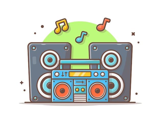 Retro draagbare radio cassetterecorder met geluid luidspreker en notities van muziek geïsoleerd wit