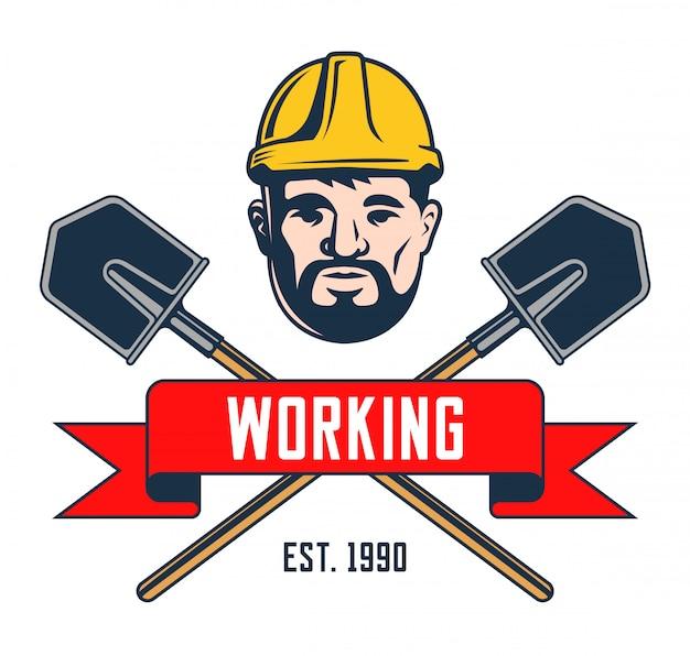 Retro embleem van een mijnwerker in een helm. schouderblad met draadkruis silhouet