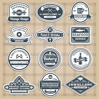 Retro emblemen set