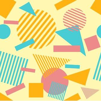 Retro en hipster memphis geometrische lijn vormen naadloze patronen