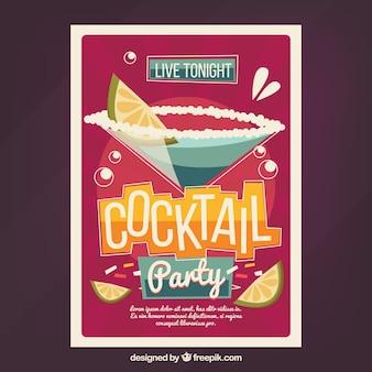 Retro feestbrochure met cocktail