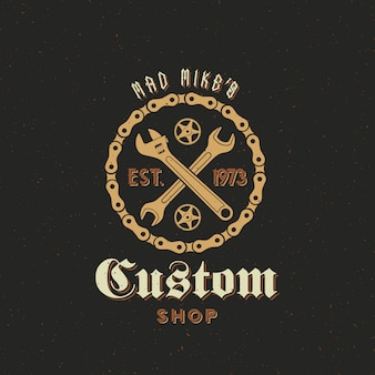 Retro fiets custom shop label of logo sjabloon