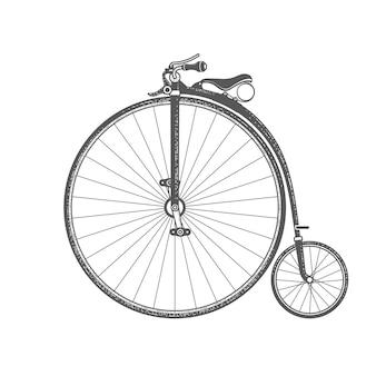 Retro fiets met groot voorwiel op wit wordt geïsoleerd