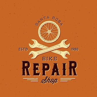 Retro fietsreparatie label of logo sjabloon