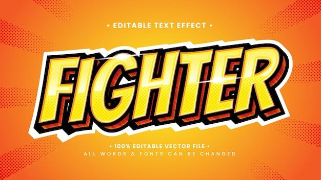 Retro fighter 3d-tekststijleffect. bewerkbare illustrator tekststijl.
