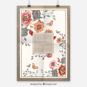 Retro floral poster