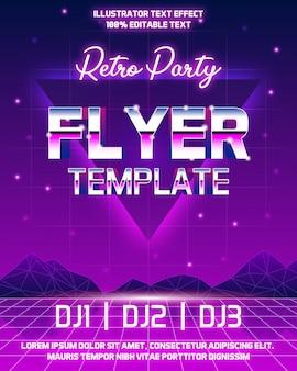 Retro flyer-sjabloon met bewerkbaar teksteffect