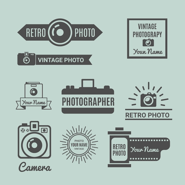 Retro fotografie logo pack