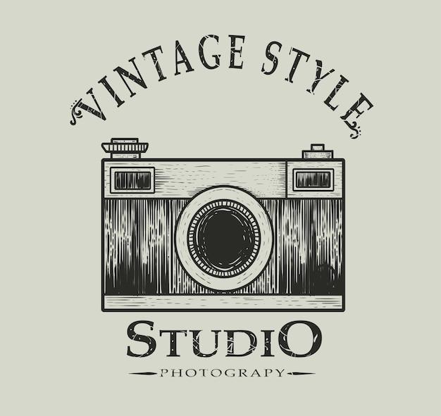 Retro fotografisch studio-logo