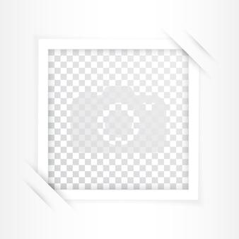 Retro fotolijst met schaduwen op wit wordt geïsoleerd