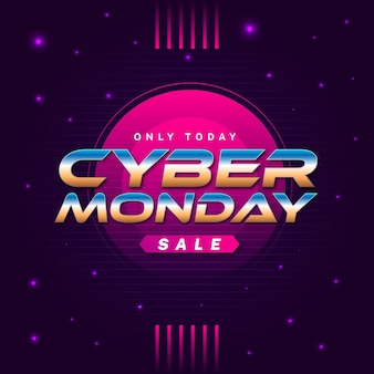 Retro futuristisch cyber maandag concept