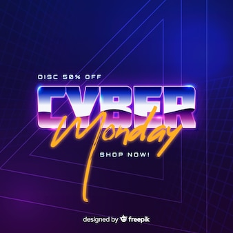 Retro futuristisch cyber maandagconcept