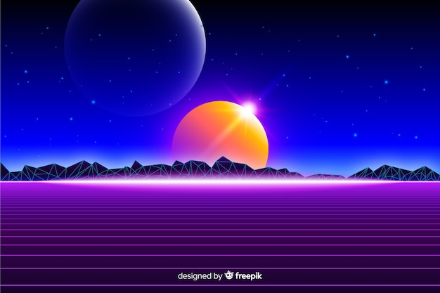 Retro futuristisch landschap van universum achtergrond