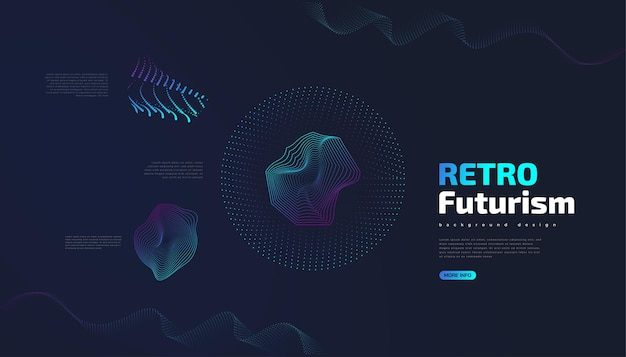 Retro futuristische achtergrond met abstracte kleurrijke golvende vormen. sci fi vectorillustratie, kan worden gebruikt voor banner, bestemmingspagina, omslag, presentatie en meer