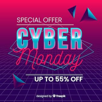 Retro futuristische cyber maandag speciale aanbieding banner
