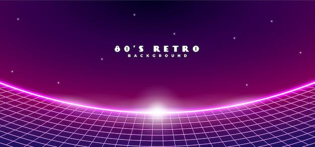 Retro futuristische jaren 1980 stijl cyber ruimte horizon achtergrond met landschap fish-eye effect