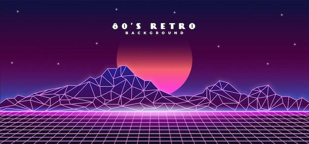 Retro futuristische jaren 80 stijl berglandschap achtergrond