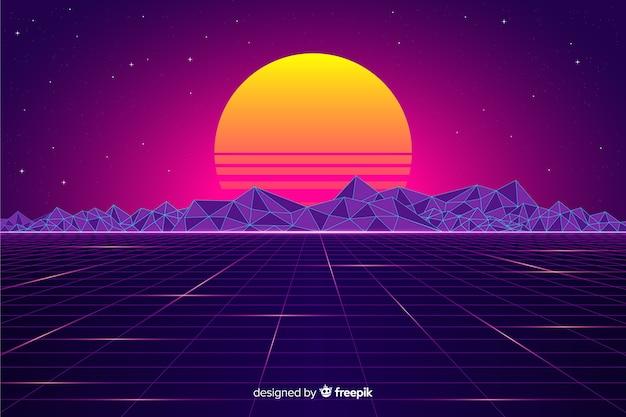 Retro futuristische landschapsachtergrond met zon
