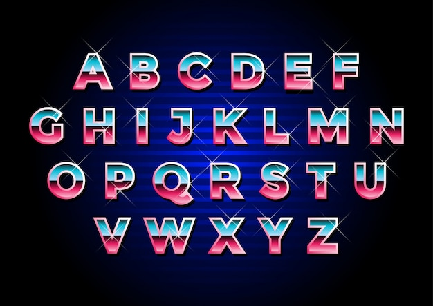 Retro futuristische metalen alfabetten set