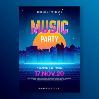 Retro futuristische muziek folder sjabloon