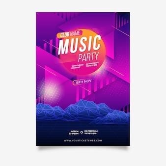 Retro futuristische muziek poster sjabloon