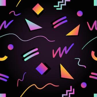 Retro futuristische naadloze patroon met kleurovergang gekleurde vierkanten, driehoeken, cirkels, zigzag en gebogen lijnen op zwart