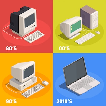 Retro gadgets 2x2 isometrisch ontwerpconcept met geïsoleerde computerevolutie 3d