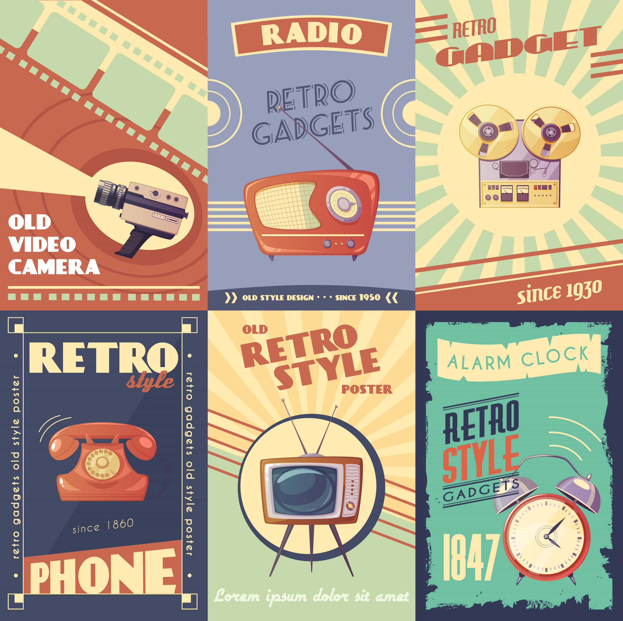 Retro gadgets cartoon posters met camera radio muzikale speler telefoon tv wekker