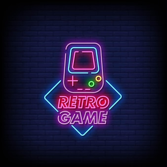 Retro game neon signs style text