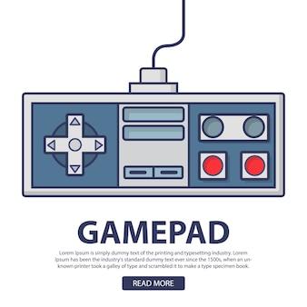 Retro gamepad-joystick voor de oude gameconsole op de tv.
