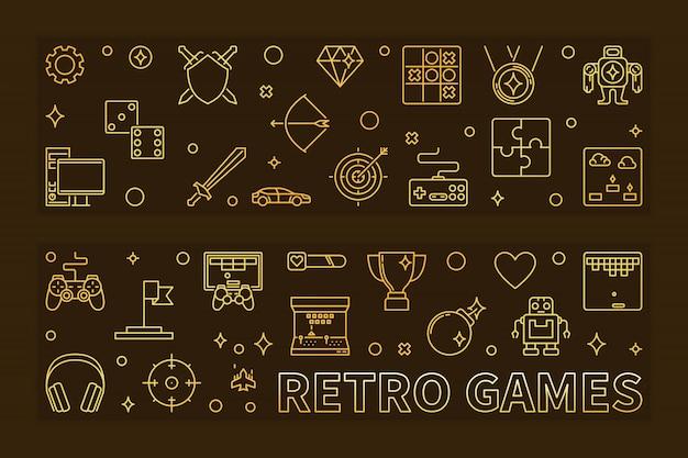 Retro games schetsen pictogrammen