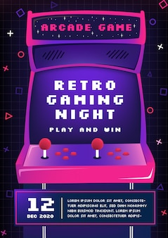 Retro gaming poster sjabloon