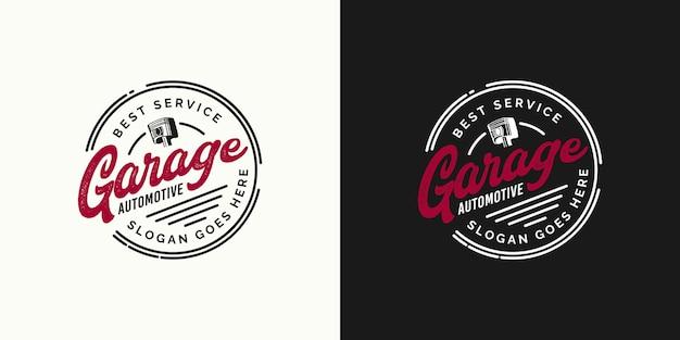 Retro garage automotive beste service logo ontwerpconcept