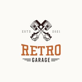 Retro garage logo ontwerpconcept