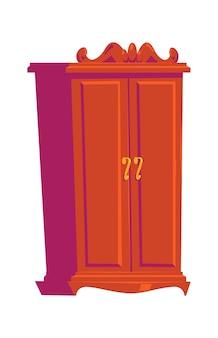 Retro garderobe, houten meubels, interieurelement cartoon afbeelding