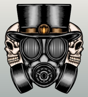 Retro gasmasker met in hand getrokken schedel