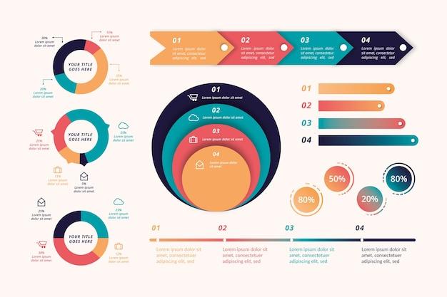 Retro gekleurde platte infographic