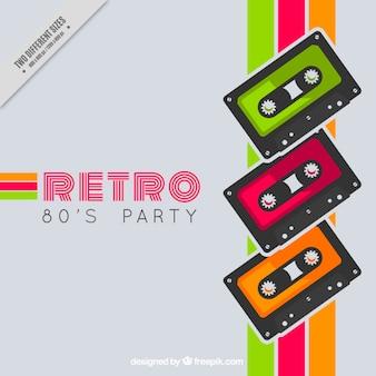 Retro gekleurde strepen achtergrond met tapes