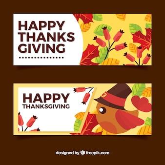 Retro gelukkige dankzeggingsdag banners