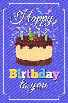 Retro gelukkige vector de groetkaart van de verjaardagspartij met beeldverhaalcake en gebrande kaarsen