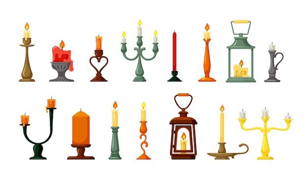 Retro geplaatste kandelaars en lampen