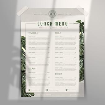 Retro gezond eten restaurant menusjabloon
