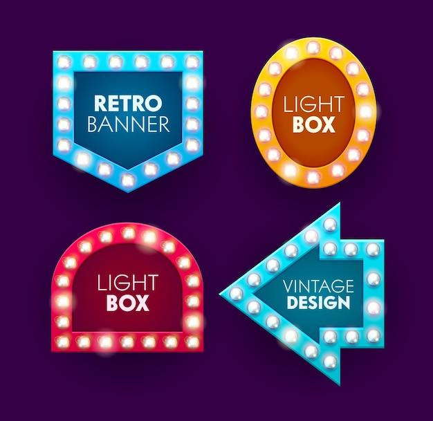Retro gloeilamp licht casino kaderset